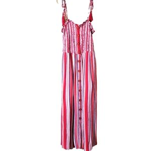 Altar'd State Striped Tassle Buttoned Maxi Dress